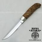 Нож финский из кованой нерж. стали 95Х18 клинок с ромбом в сечении и пятой, рукоять из карельской берёзы, оковка мельхиор