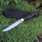 Нож Финский, клинок с ромбом в сечении и пятой из кованой стали Х12МФ, оковка из латуни