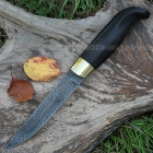 Нож Финка пуукко клинок с ромбом в сечении и пятой из дамасской стали, оковка из латуни, рукоять граб