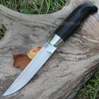 Нож Финский пуукко клинок с ромбом в сечении и пятой из кованой стали Х12МФ, оковка из мельхиора