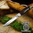 Нож Финский, клинок с ромбом в сечении и пятой из стали Bohler K340, оковка из мельхиора, рукоять граб